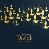 Design de carte de salutation de Diwali avec flotter le diya d'or Photos libres de droits