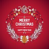 Design de carte de salutation de guirlande de Noël images libres de droits