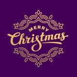 Design de carte de salutation de lettrage de Joyeux Noël Photographie stock libre de droits