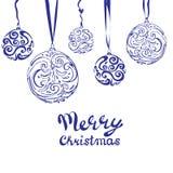 Design de carte de salutation de Noël de vecteur Boule abstraite de Noël de remous sur le fond blanc Photo libre de droits