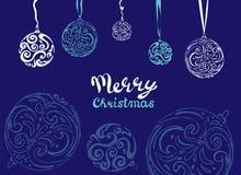 Design de carte de salutation de Noël de vecteur Boule abstraite de Noël de remous sur le fond bleu Images libres de droits