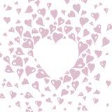 Design de carte de Valentine, décoratif dans le style de vintage, avec les éléments de coeur et l'espace roses stylisés de copie Illustration Libre de Droits