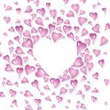 Design de carte de Valentine, décoratif dans le style de vintage, avec les éléments roses stylisés de coeur Illustration Stock