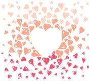 Design de carte de Valentine, décoratif dans le style de vintage, avec les éléments stylisés de coeur dans l'espace rouge et rose Illustration Stock