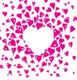 Design de carte de Valentine, décoratif dans le style de vintage, avec les éléments stylisés de coeur dans le rose Illustration Libre de Droits