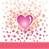 Design de carte de Valentine dans le style de vintage, avec les éléments stylisés de coeur en rouge orange et le rose Illustration de Vecteur