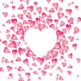 Design de carte de Valentine dans le style de vintage, avec les éléments stylisés de coeur dans le rose avec l'espace de copie Illustration de Vecteur