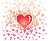 Design de carte de Valentine, vintage décoratif doux, avec les éléments stylisés de coeur Illustration Stock