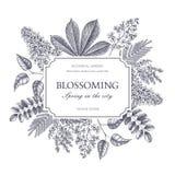 Design de carte de vecteur avec les arbres de floraison tirés par la main Calibre floral d'invitation de mariage illustration stock