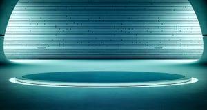 Design de interiores abstrato da sala de exposições moderna com o assoalho escuro vazio e fundo azul da parede, pódio para a expo Fotos de Stock