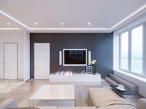 Design de interiores cinzento branco moderno da sala de visitas Imagens de Stock Royalty Free