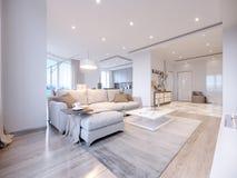 Design de interiores cinzento branco moderno da sala de visitas Foto de Stock Royalty Free