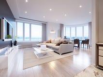 Design de interiores cinzento branco moderno da sala de visitas Imagem de Stock Royalty Free