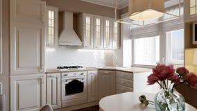 Design de interiores clássico elegante da cozinha Fotografia de Stock Royalty Free