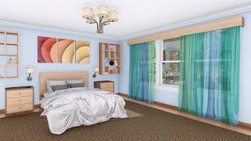Design de interiores confortável moderno 3D do quarto Imagens de Stock Royalty Free