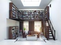 Design de interiores da biblioteca home ilustração do vetor