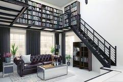 Design de interiores da biblioteca home ilustração royalty free