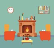 Design de interiores da sala com chaminé Imagens de Stock Royalty Free