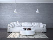 Design de interiores da sala com um sofá branco Fotografia de Stock