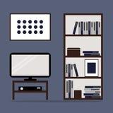 Design de interiores da sala de visitas com biblioteca e tevê Foto de Stock Royalty Free