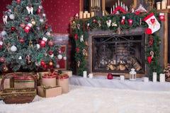 Design de interiores da sala do Natal Fotografia de Stock Royalty Free