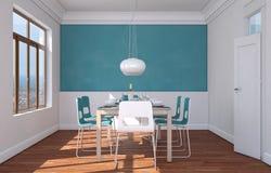 Design de interiores da sala de jantar com parede azul Imagens de Stock Royalty Free