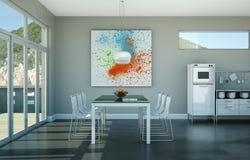 Design de interiores da sala de jantar na casa de praia Imagem de Stock Royalty Free
