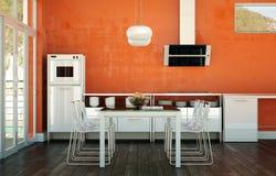 Design de interiores da sala de jantar na casa de praia Foto de Stock
