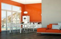 Design de interiores da sala de jantar na casa de praia Imagens de Stock