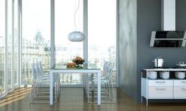 Design de interiores da sala de jantar na casa de praia Imagens de Stock Royalty Free