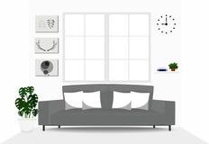 Design de interiores da sala de visitas com sofá cinzento Foto de Stock