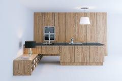 Design de interiores de madeira futurista da cozinha com o 3d de pavimentação branco Imagem de Stock