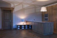 Design de interiores de madeira novo clássico da cozinha 3d rendem Fotografia de Stock Royalty Free