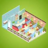 Design de interiores do café do verão Fast food exterior Ilustração 3d lisa isométrica Foto de Stock