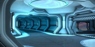 Design de interiores do corredor da ficção científica ilustração stock