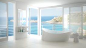 Design de interiores do fundo do borrão, banheiro minimalista fotografia de stock royalty free