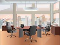 Design de interiores do local de trabalho do escritório Ilustração lisa do conceito Objetos, elementos & equipamento do negócio Imagem de Stock Royalty Free