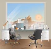 Design de interiores do local de trabalho do escritório Objetos, elementos & equipamento do negócio Foto de Stock
