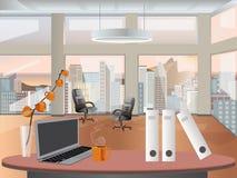 Design de interiores do local de trabalho do escritório Objetos, elementos & equipamento do negócio Imagens de Stock Royalty Free
