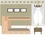 Design de interiores do quarto, camas de beliche Ilustração Stock