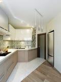 Design de interiores elegante e luxuoso moderno da cozinha Fotos de Stock Royalty Free