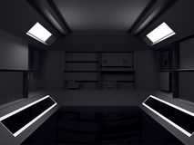 Design de interiores futurista abstrato da sala escura rendição 3d fut ilustração do vetor