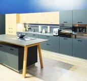 Design de interiores limpo da cozinha plástica Imagens de Stock Royalty Free