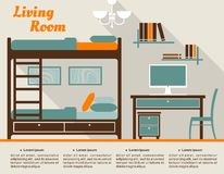 Design de interiores liso da sala de visitas infographic Imagens de Stock