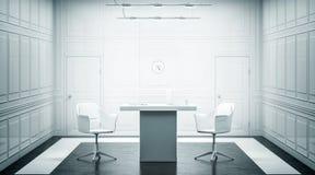 Design de interiores luxuoso branco vazio do escritório, Imagem de Stock