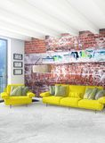 Design de interiores mínimo do estilo do quarto branco com parede de madeira e o sofá cinzento rendição 3d ilustração 3D Imagens de Stock