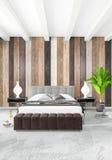 Design de interiores mínimo do estilo do quarto branco com parede de madeira e o sofá cinzento rendição 3d ilustração 3D Imagem de Stock Royalty Free