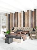 Design de interiores mínimo do estilo do quarto branco com parede de madeira e o sofá escuro rendição 3d ilustração 3D Imagens de Stock Royalty Free