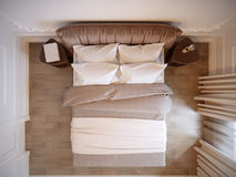 Design de interiores moderno brilhante e acolhedor do quarto com paredes brancas, Fotografia de Stock