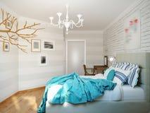 Design de interiores moderno brilhante e acolhedor do quarto com paredes brancas, Foto de Stock